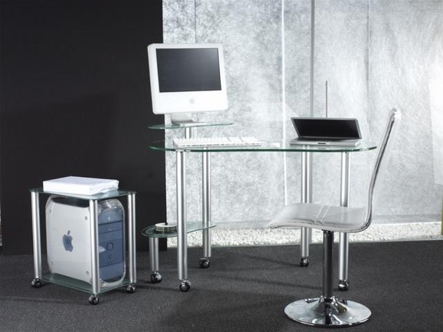 Mesa de ordenador mod sms en cristal y aluminio - Mesa ordenador cristal ...